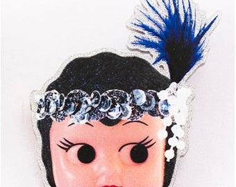 Kewpie Queen brooch - flapper raven