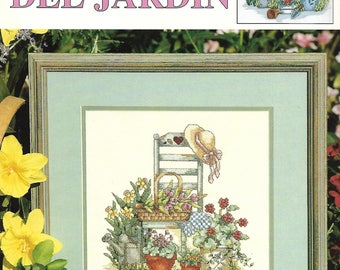 "LEISURE ARTS ""Bellezas Del Jardin"" (""Garden Beauties"") - Cross Stitch Pattern by Lorri Birmingham, Nostalgic, Serene, Flowers, Chair, Ladder"