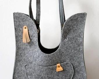 Felt modern handbag