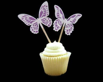 Butterfly Cupcake Toppers Set of 6 (3 of each style) Made to Order