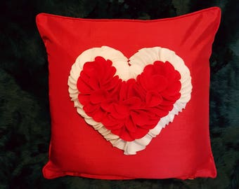 Designer, 3D Luxury Mother's Day Handmade Red/White Love Heart-Shaped Petal Decorative Cushion Cover