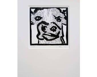 Original Lino Print Cow Lucy