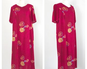 Deep red, vintage maxi dress. Approx UK size 16