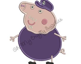 Papaw Pig Applique Embroidery Design