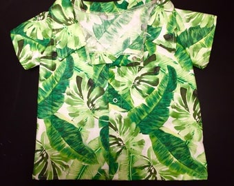 Boys clothing- baby boy- toddler boys- shirts- tops- hawiian shirt- palm leaves