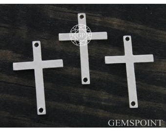 Sterling Silver Charm, Cross Charm w/Hole on Both Ends, Spiritual Charm, 925 Sterling Charm, Christening Cross, (SS-1-39)