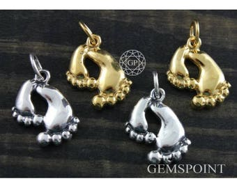 Sterling Silver or Vermeil Charm, Baby Footprint Charm/w Jump Ring, Gold Footprint Charm, Silver Footprints Charm, Footprints Charm, (10-17)