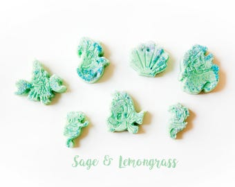 Sage & Lemongrass Wax Melts (3.1 Oz.) - Handmade Wax Melts - Hand Poured Wax Melts - Little Mermaid - Little Mermaid Gifts - Sage - Lemon