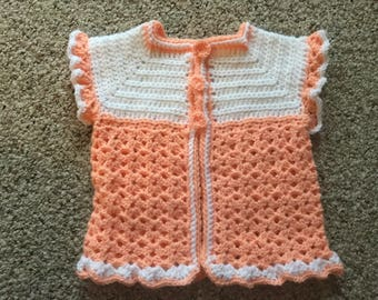 Hand crochet little girls sweater