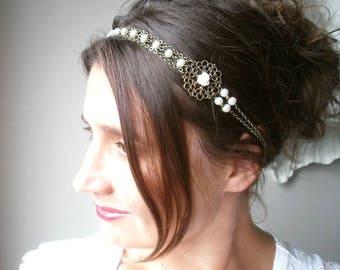 Headband wedding headpiece-retro romantic and Bohemian vintage metal bronze and Ivory Pearl beads.