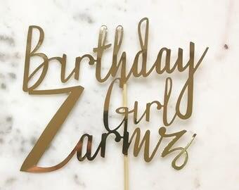 Custom Birthday Topper. Birthday Girl Cake Topper. Wedding, Engagement, Birthday, Anniversary, All colours available.