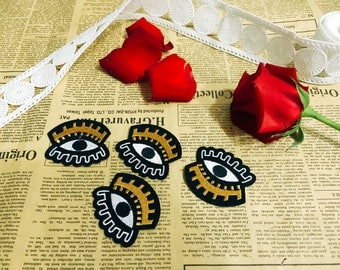 gold crown eyes patch,iron on patch,embroidered patch,feminism patch,dress patch,girl patch,DIY