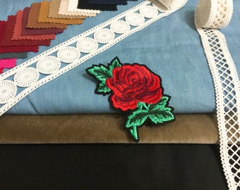 Red carnation flower patch,embroidered patch,iron on patch,jacket patch,hat patch ,shoes patch