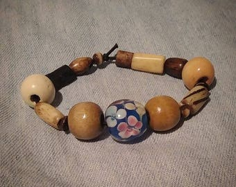 SALE Wooden bracelet with floral glass bead