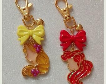 Key ring/Pendant bag Rapunzel and Ariel UV resin