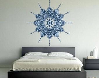 Mandala Om Yoga Spiritual Hinduism Buddhism Universe Cosmos Balance Energy Hippie Life DIY Wall Stickers Decals Vinyl Mural Decor Art VG164