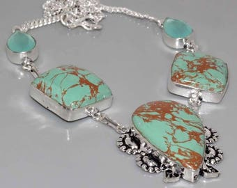 silver necklace, Jasper mosaic and chalcedony