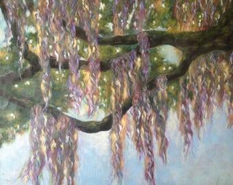 Purple Mossy Angel Oak Tree Original Acrylic Painting on Canvas