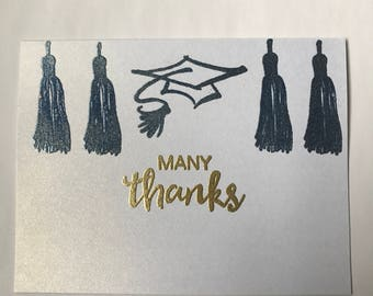 Blue and gold graduation thank you cards - set of 20