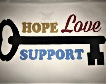 Prison, Parole, Families support shirt HOPE LOVE SUPPORT with Key White Shirt Small - 5XL Freedom Hope Success