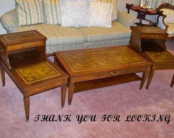 Mahogany Coffee Table And End Tables Leather Tops 00564