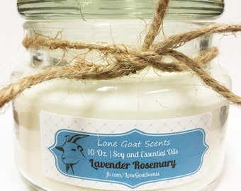 Lavender Rosemary 10 Oz. Apothecary Soy Wax Candle   Essential Oils   NO DYE   All Natural