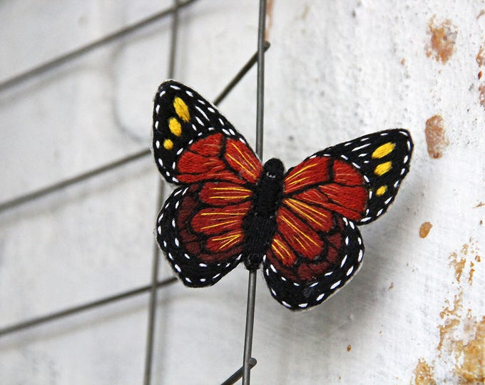 Embroidery monarch butterfly unique brooch textile jewelry pin Butterfly lover gift Nature inspired Brooch mom gift from daughter