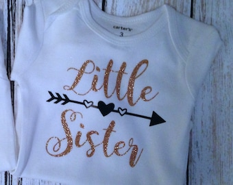 Little Sister Onesie/Custom Onesie/girl onesie/monogram onesie/baby shower gift/little sister/little sister shirt/baby girl gift/babygift