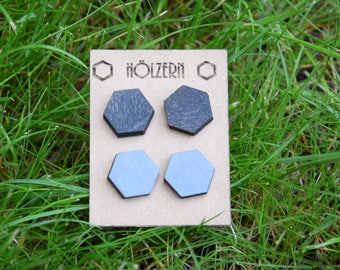 Earrings black grey Hexagon Hexagon twin set