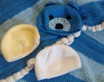 Crochet Baby Blanket & Hat Set (Boy)