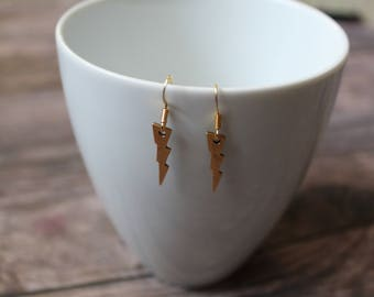 Lightning Bolt, Harry Potter - inspired | Earrings Gold