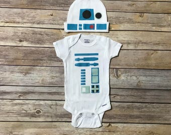 R2D2 Hat and Onesie, Star Wars Onesie, Star Wars Coming Home Outfit, Baby Shower Gift, Cute Baby Clothes, Unisex Baby Clothes,Star Wars Gift