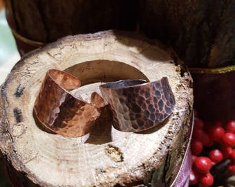 """Solid Copper Tapered """"Hammered"""" Split Band Ring Choose your Finish. size 6 thru 13"""