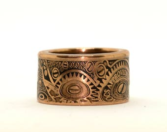 Globes & Gears Wide Band (2011) Coin Ring