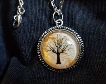 Hand-painted Gold Tree Pendant Necklace