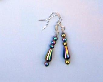 Rainbow haematite earrings