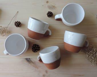 TO ORDER. Clay mug shot with white glaze. Pottery mug shot.