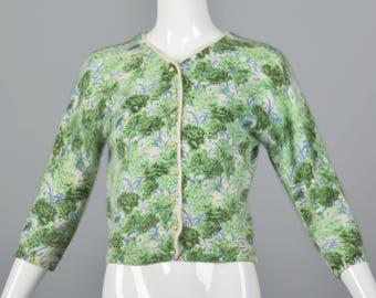XS 1960s Cardigan Angora Sweater 60s Knit Cardigan Hand Screen Printed Floral Sweater Green Blue Button Cardigan 1960s Vintage