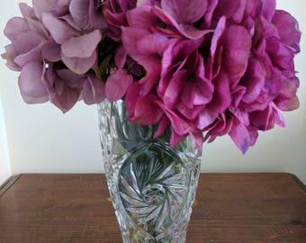 Vintage Crystal Flower Vase | Crystal Home Decor | 1970s Vase | Crystal vase