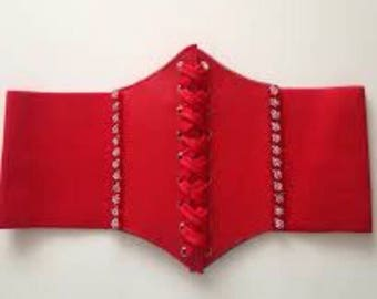Red Faux Leather Clinch Belt