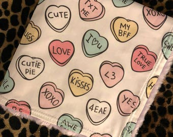 Minky Blanket - Conversation Hearts