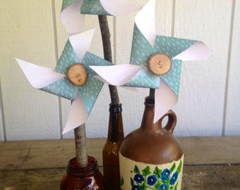 Paper pinwheel/ wedding table centerpiece/party decor/outside wedding decor/wedding favors/floral arrangement/wedding pinwheels