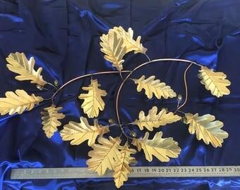 "32"" Solid Brass Oak Leaf & Acorn Sculpture"