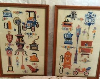 Antique Large Lot of Needlepoint framed wall Decor needlepoint samplers