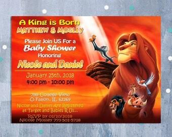 Lion King Baby Shower Invitation, Lion King Party, Simba Baby Shower Invitation, Disney Lion King Baby Shower Invite, Personalized JPEG