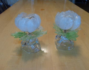 Antique Glass Flower Candle Holders