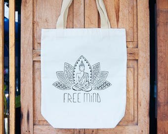 Tote-Bag White / Free Mind / Buddha / Calligraphy / Spirituel / Yoga bag / Limited Edition / Gift for her