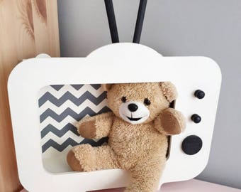 Retro TVShaped Shelf, Wooden Tv Shelf, Shadow Box