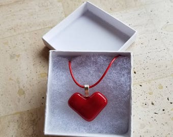 Fused Glass Heart Pendant