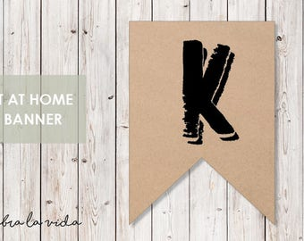 DIY Banner - 'K'. Instant Download. Printable Banner Letters. - 02